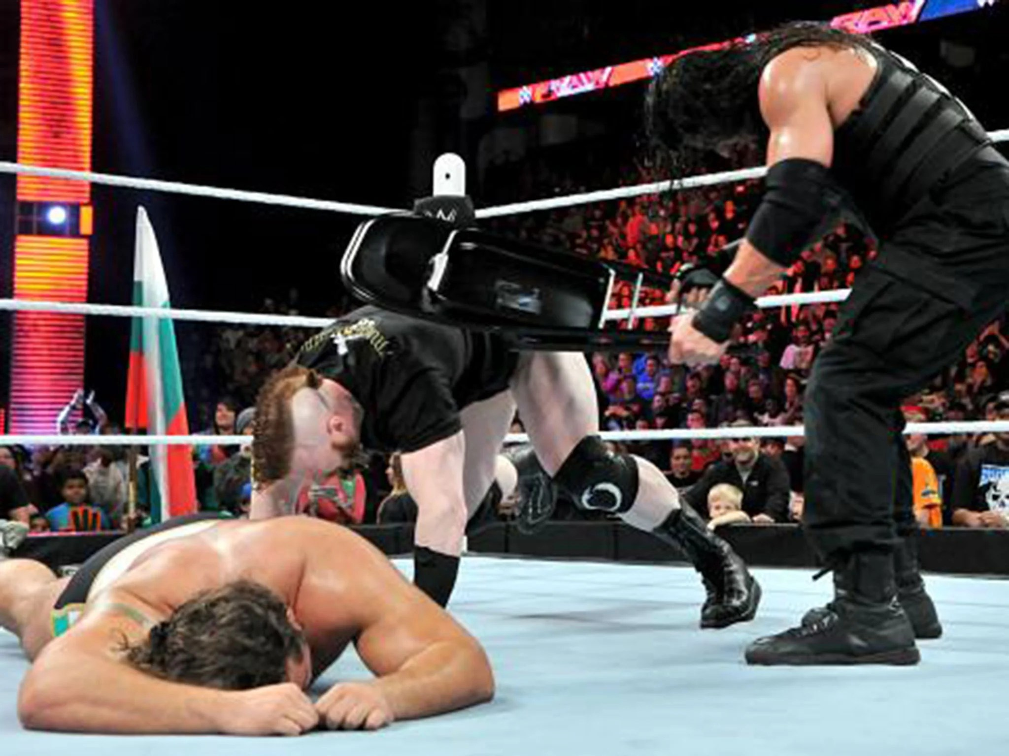 steel chair in wrestling revolving functions wwe raw results roman reigns gets revenge on sheamus for
