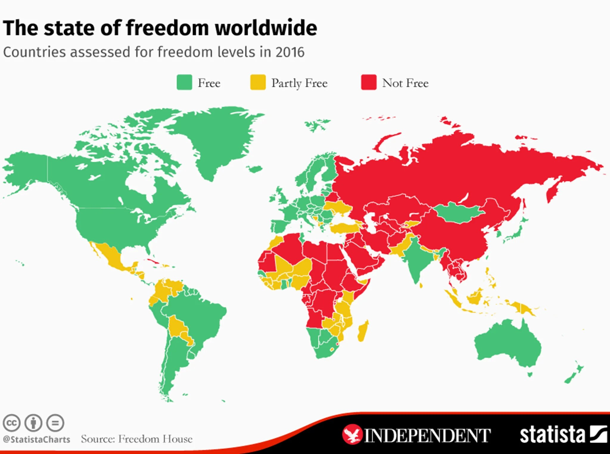 The Map That Shows Most And Least Free Countries In The