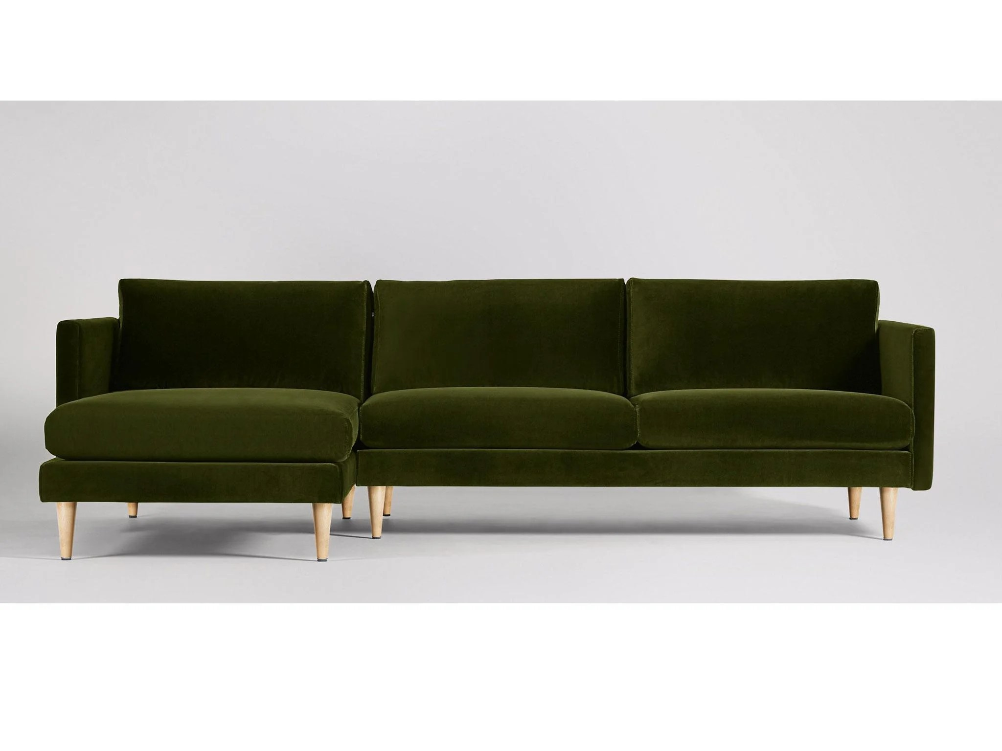 htl sofa stockists uk homcom linen lounge sleeper 11 best corner sofas the independent swoon editions has a hint of mid century style with tapered wood legs thin arms and deep seat but its character easily changes depending on how