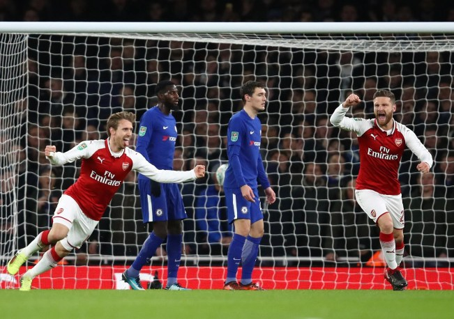 Image result for arsenal 2-1 chelsea 2018