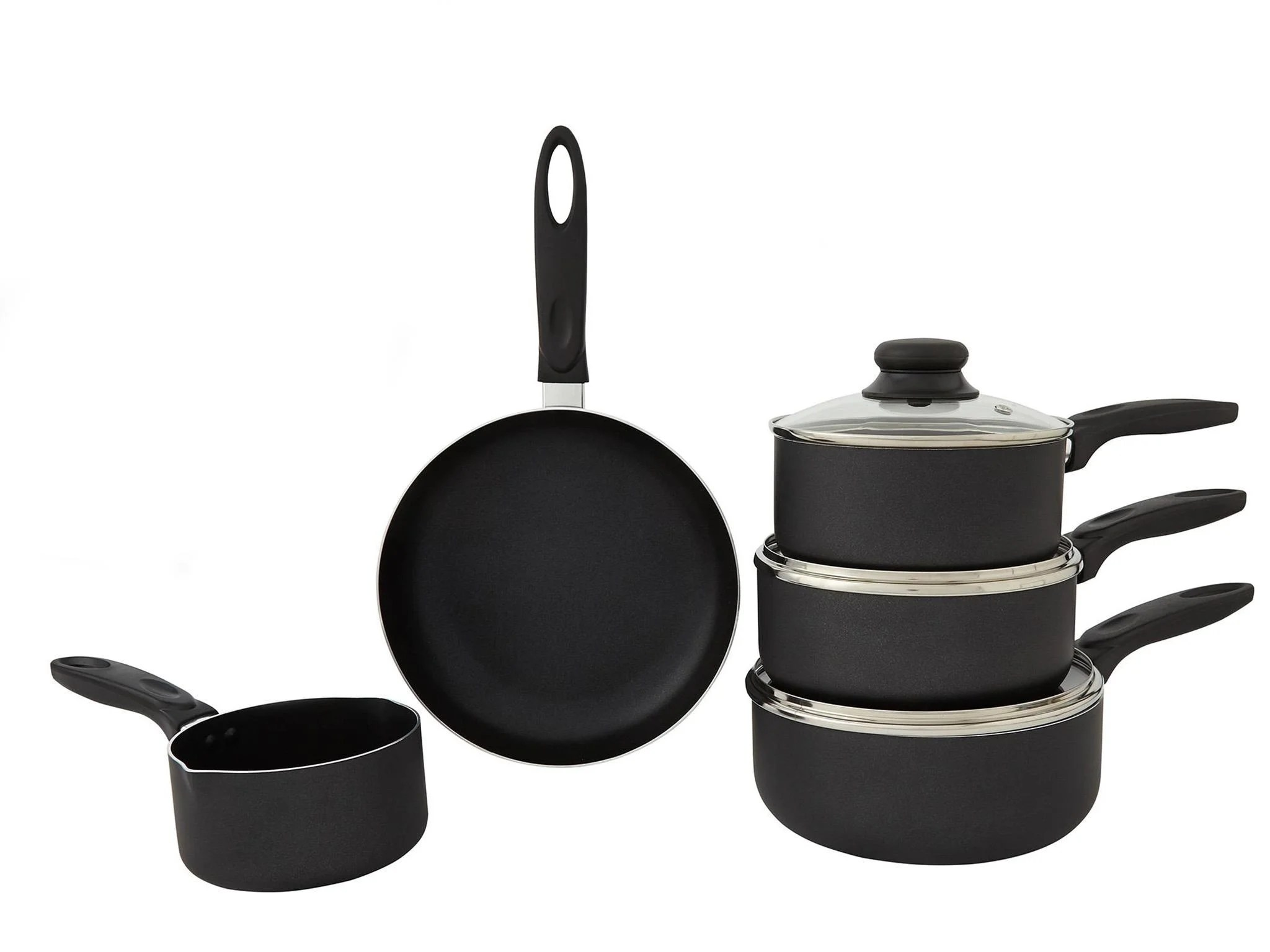 kitchen pan set top faucets 12 best saucepan sets the independent dunelm essentials 5 piece aluminium 30
