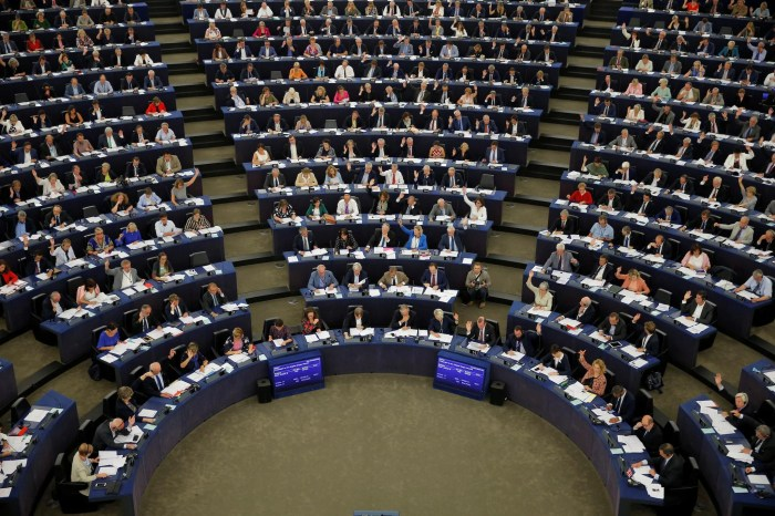 Members of the European Parliament take part in a vote on modifications to EU copyright reforms during a voting session at the European Parliament in Strasbourg, France, September 12, 2018