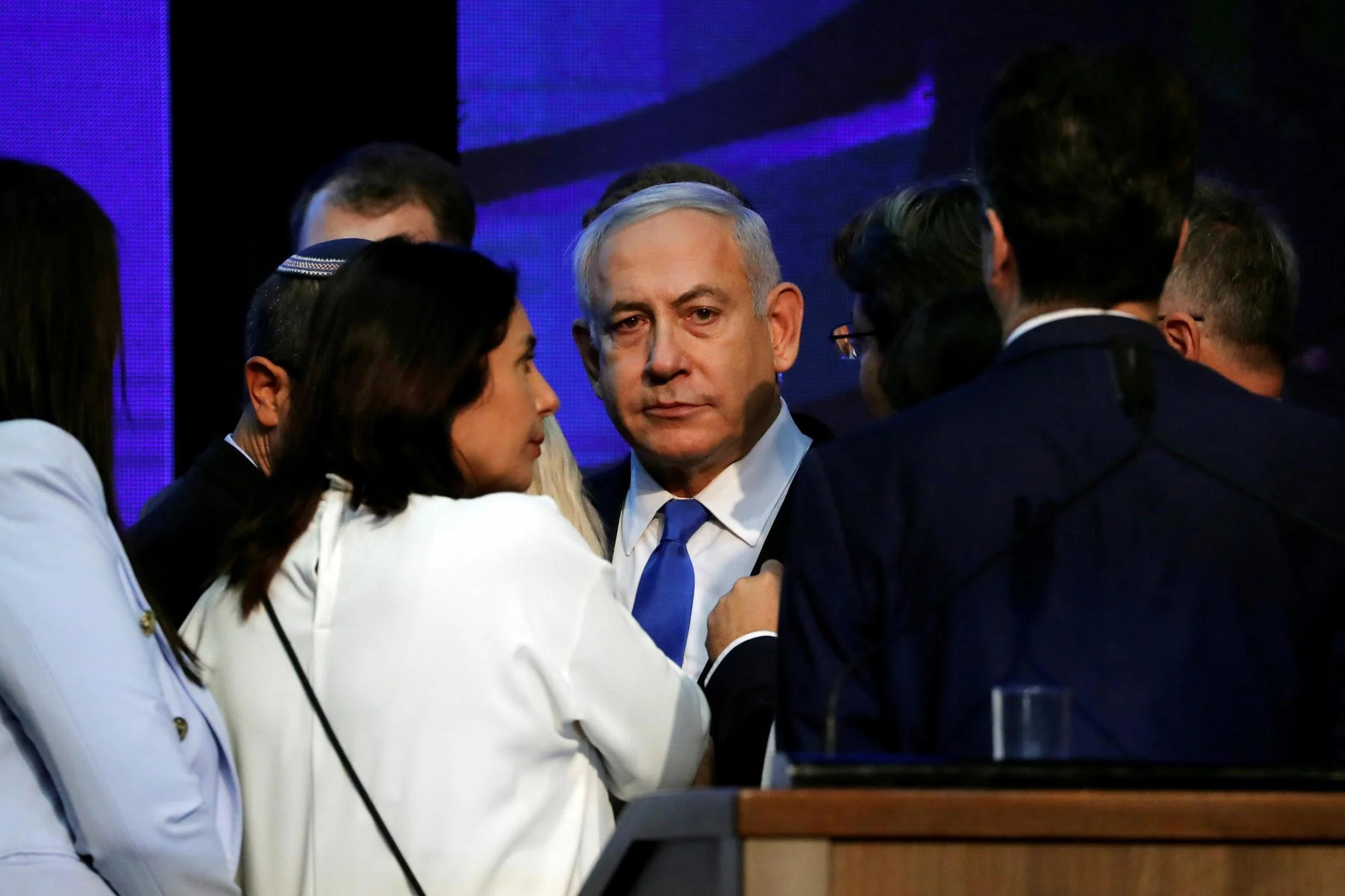 The Israeli prime minister spoke to supporters at his Likud party headquarters after the announcement of exit polls in Tel Aviv