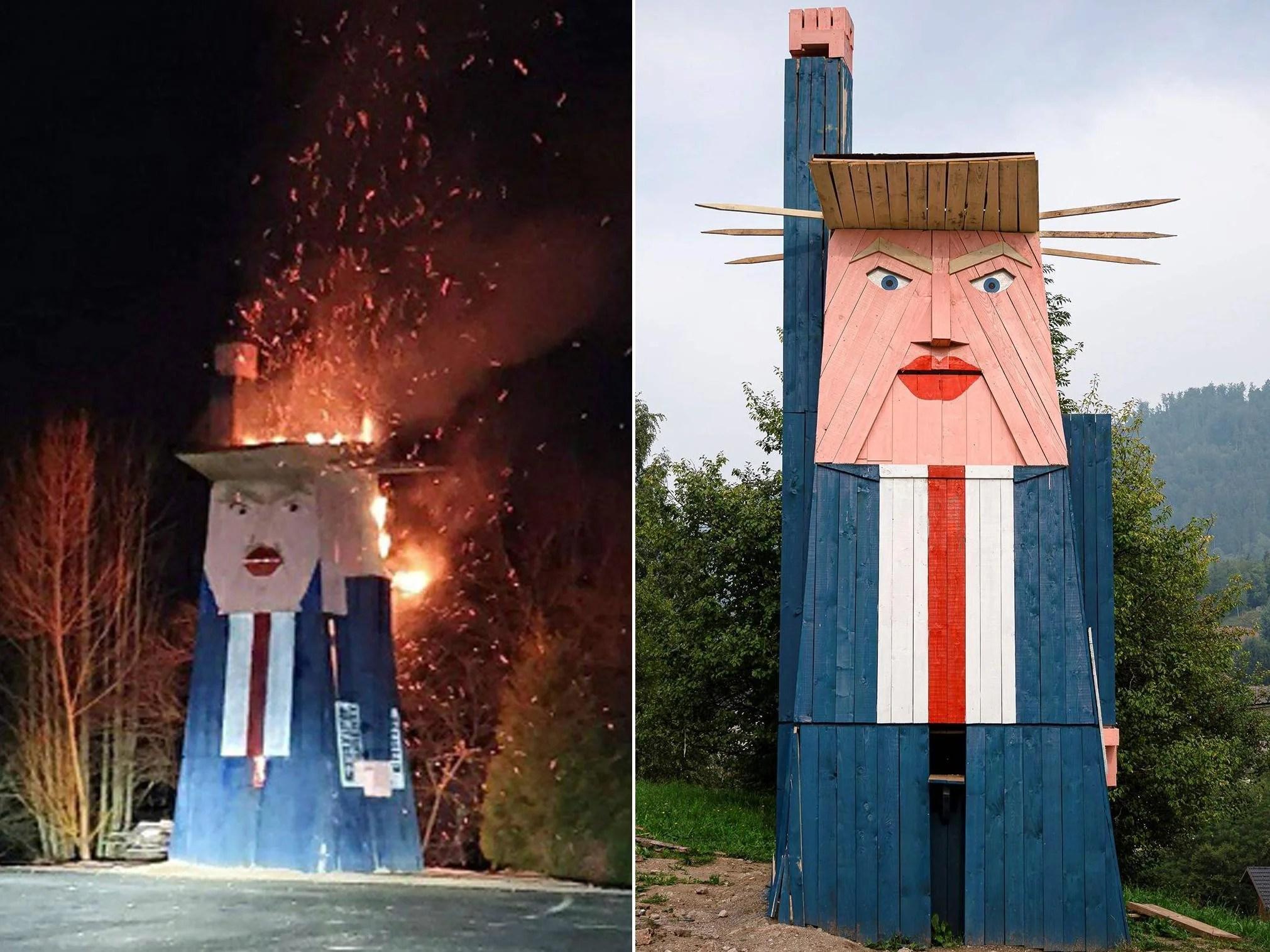 Trump statue burned ashore in Slovenia