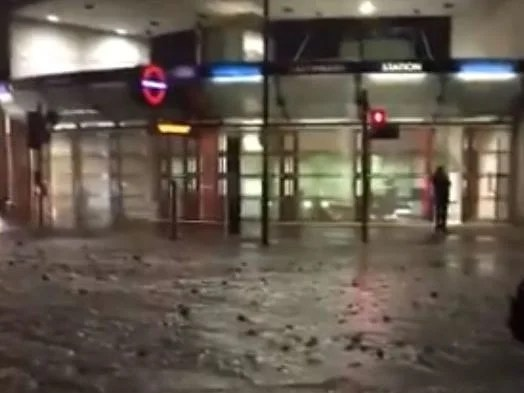 Southwark floods: The tube station was closed when streams of water flooded London Street