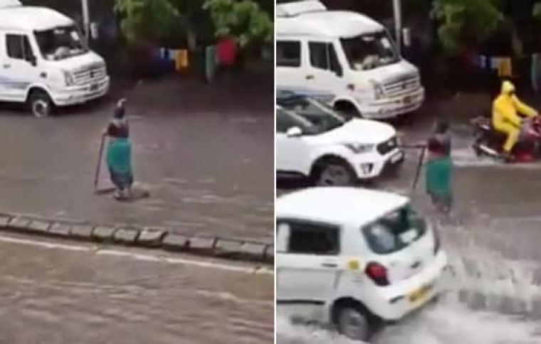 'The Unsung Hero': Mumbai Woman Stands in Rain For 5 Hours to Warn Commuters of Open Manhole | Watch