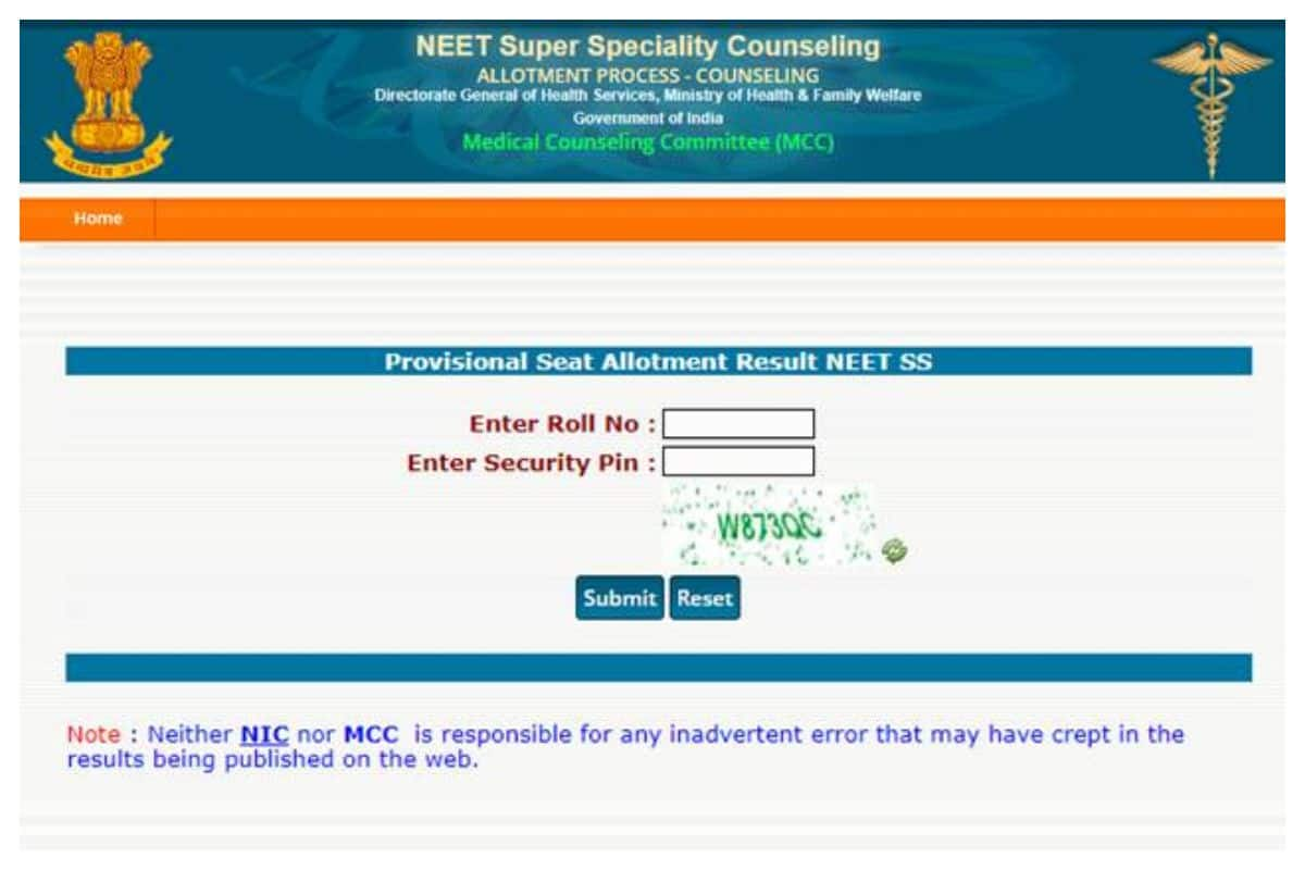 NEET SS Counselling Result 2020 Declared for 2nd Round At mcc.nic.in, Check NEET SS Allotment Results Now