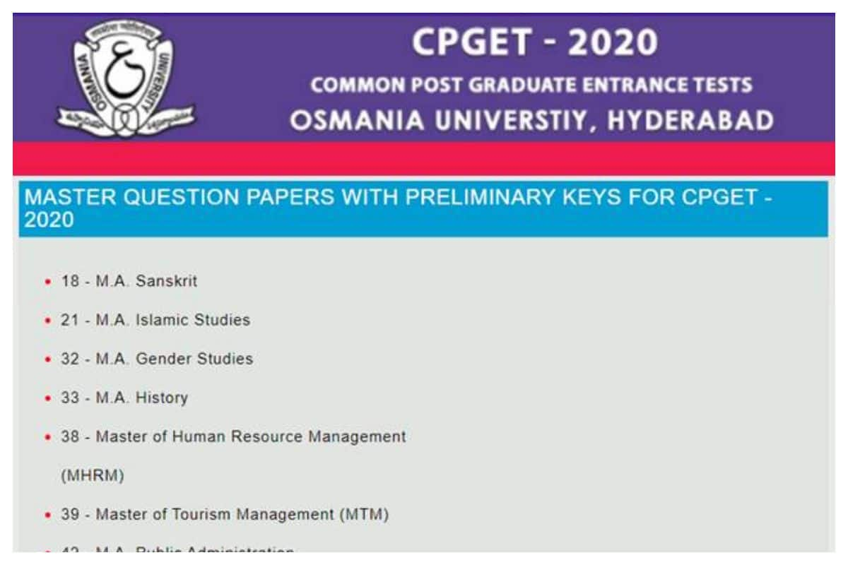 TS CPGET Answer Key 2020 Released by Osmania University At tscpget.com, Check How To Download