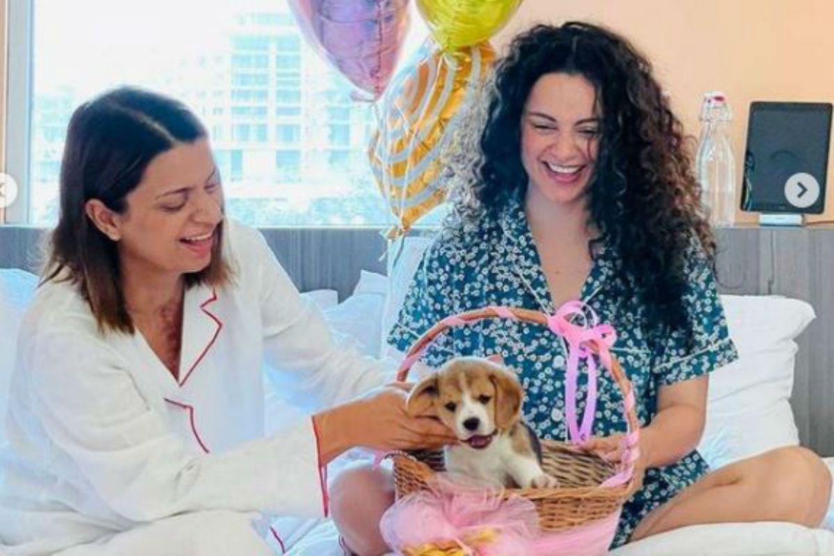 Kangana Ranaut Gifts Sister Rangoli Chandel a Puppy – Check Pics