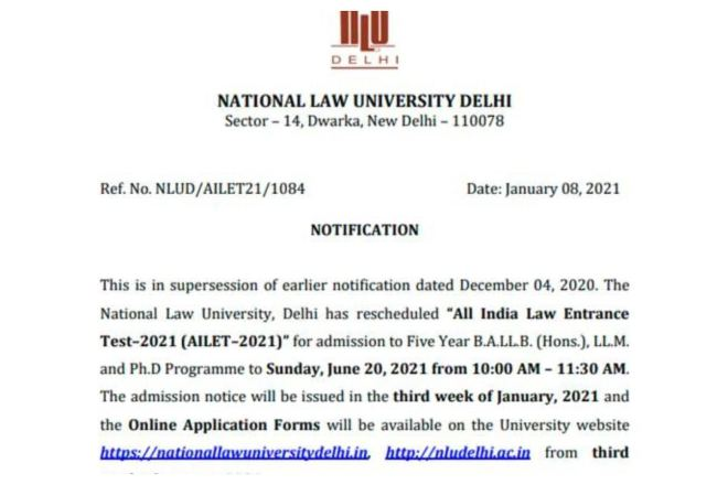 NLU Delhi Reschedules AILET 2021 Exam, To be held on 20th June Now, CHECK All Important Details Here