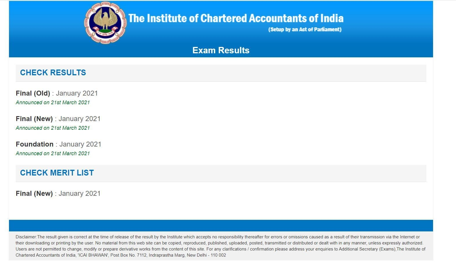 CA Foundation, Final January Exams Results Declared, Check Here