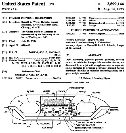 U.S. Patent #3899144 for Powder Contrail Generation inventors: Donald K. Werle, et. al.