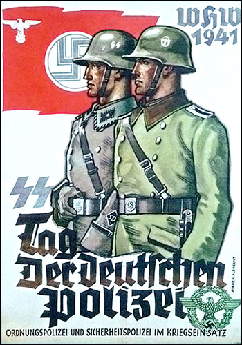 SS propaganda poster of the Day of the German police (1941). Wikimedia Commons