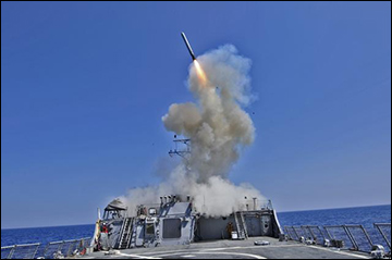 USS Barry (DDG 52) launches a Tomahawk cruise missile March 29, 2011, in the Mediterranean Sea while operating in support of Operation Odyssey Dawn.