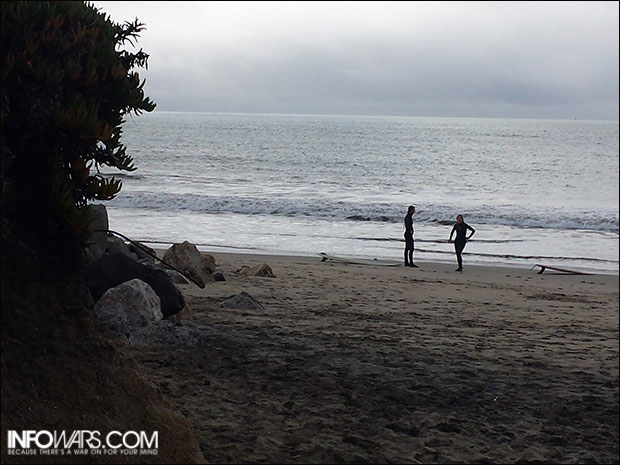 """Two of the only surfers we saw out on """"Surfer's Beach."""""""