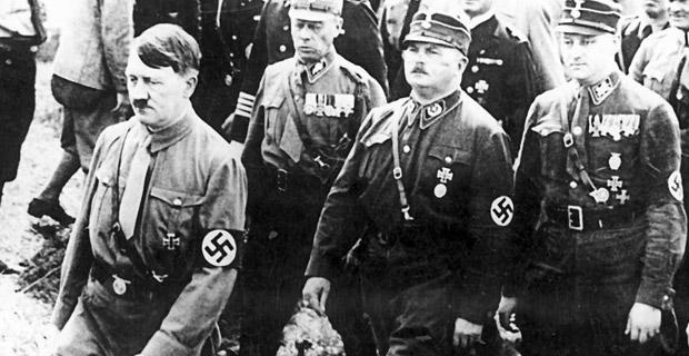 Adolf Hitler and Ernst Röhm with Brownshirts in Kiel in 1933. Photo:  skepticism.org