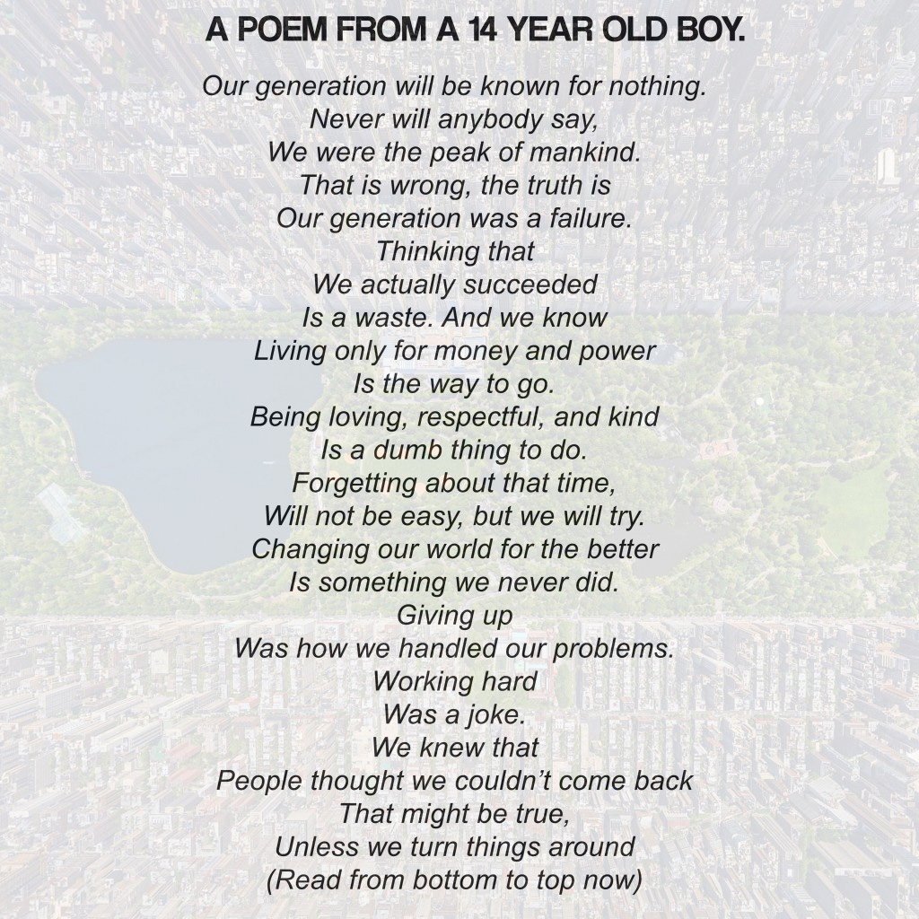 14 Year Old's Poem Will Rock You Whether You Read It