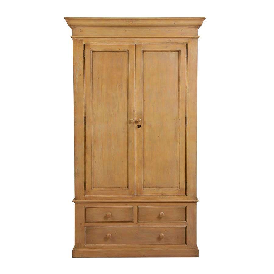 armoire penderie 2 portes 3 tiroirs en epicea naturel cire natural