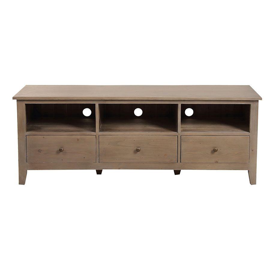 meuble tv avec rangements en epicea brun fume grise first