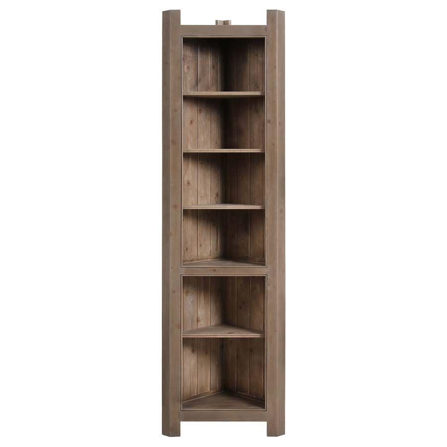 bibliotheque d angle ouverte en epicea massif brun fume grise natural
