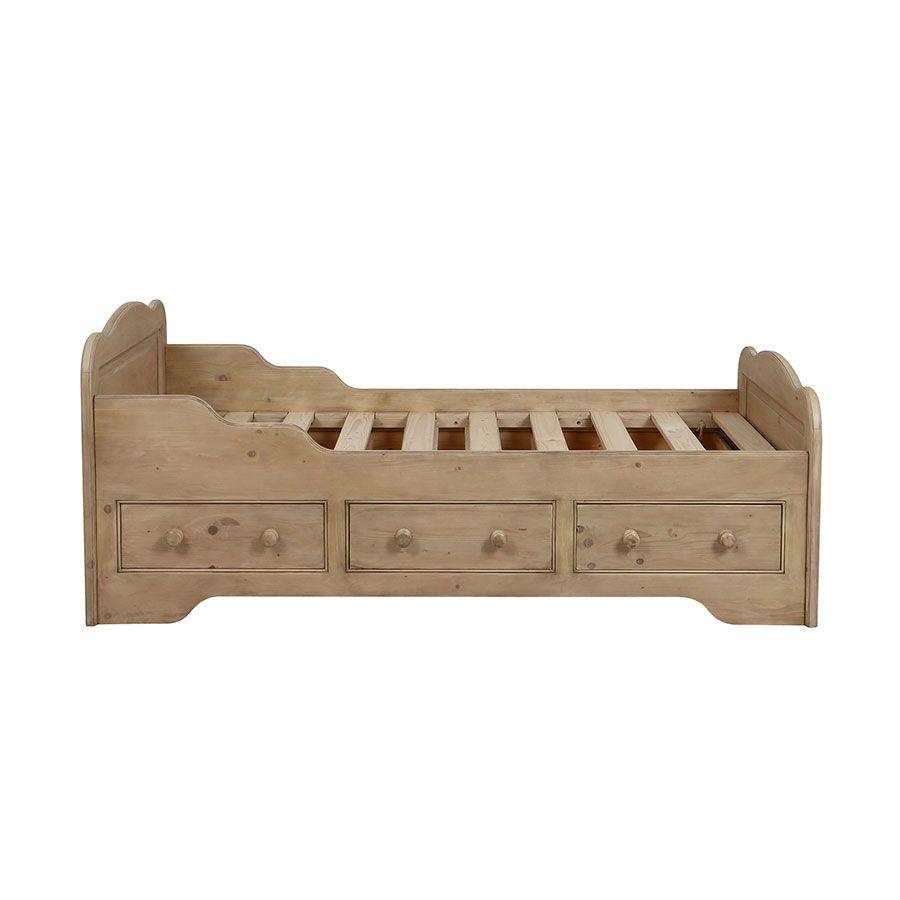 lit enfant 90x190 avec tiroirs en epicea cendre natural