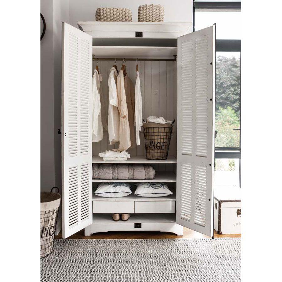 armoire penderie blanche 2 portes en epicea massif venitiennes