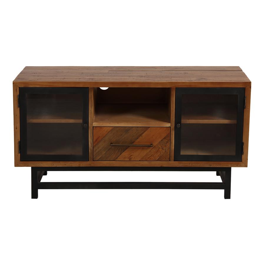 meuble tv industriel en bois recycle 1 tiroir empreintes