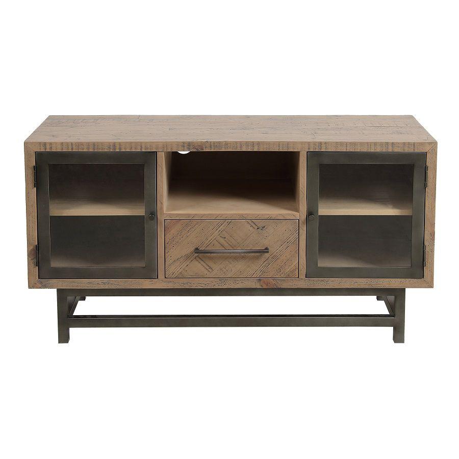 meuble tv industriel en bois recycle naturel gris 1 tiroir empreintes