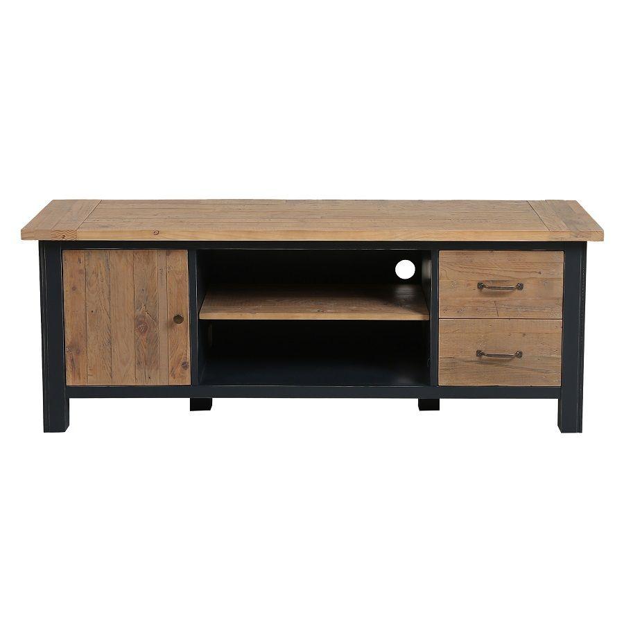 meuble tv bleu avec rangements en bois recycle rivages