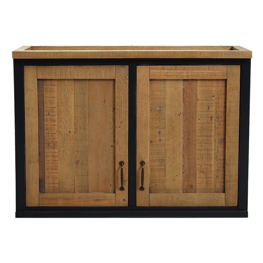 meuble de cuisine haut 2 portes en bois recycle bleu navy rivages
