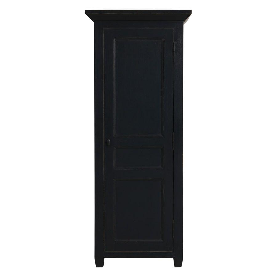 armoire penderie bonnetiere noire 1 porte en pin massif brocante