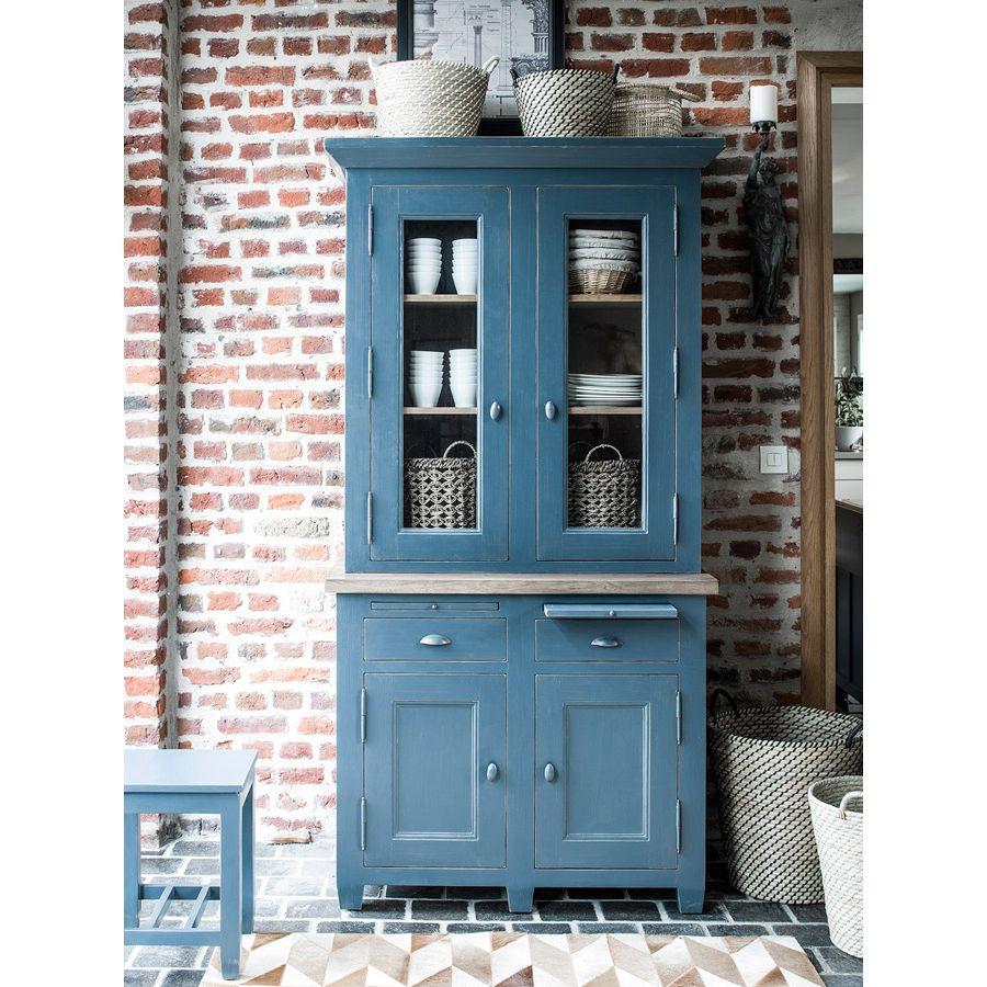 buffet bas de cuisine 2 portes en pin bleu grise brocante