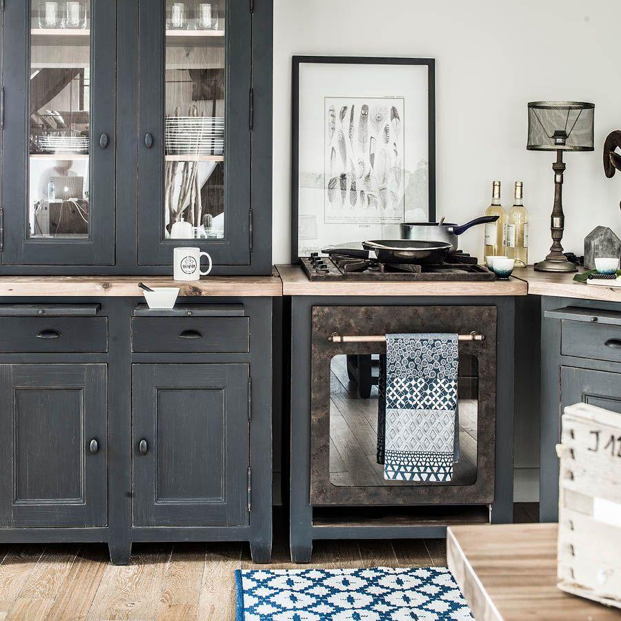 meuble bas de cuisine pour four et plaque en pin noir graphite brocante
