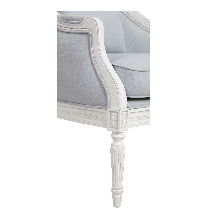 fauteuil cabriolet en bois blanc et tissu bleu glacier louis