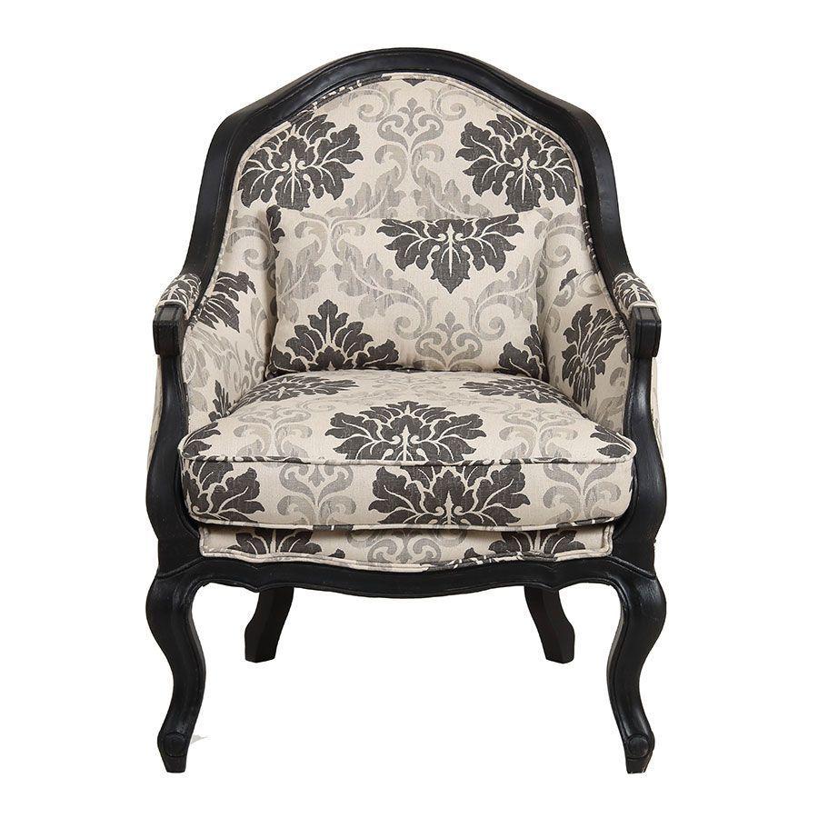 fauteuil cabriolet en hevea noir et tissu beige a motifs constant