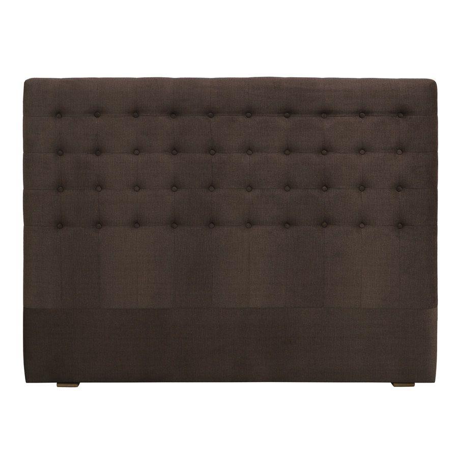 tete de lit capitonnee 140 160 cm en frene et tissu marron glace capucine