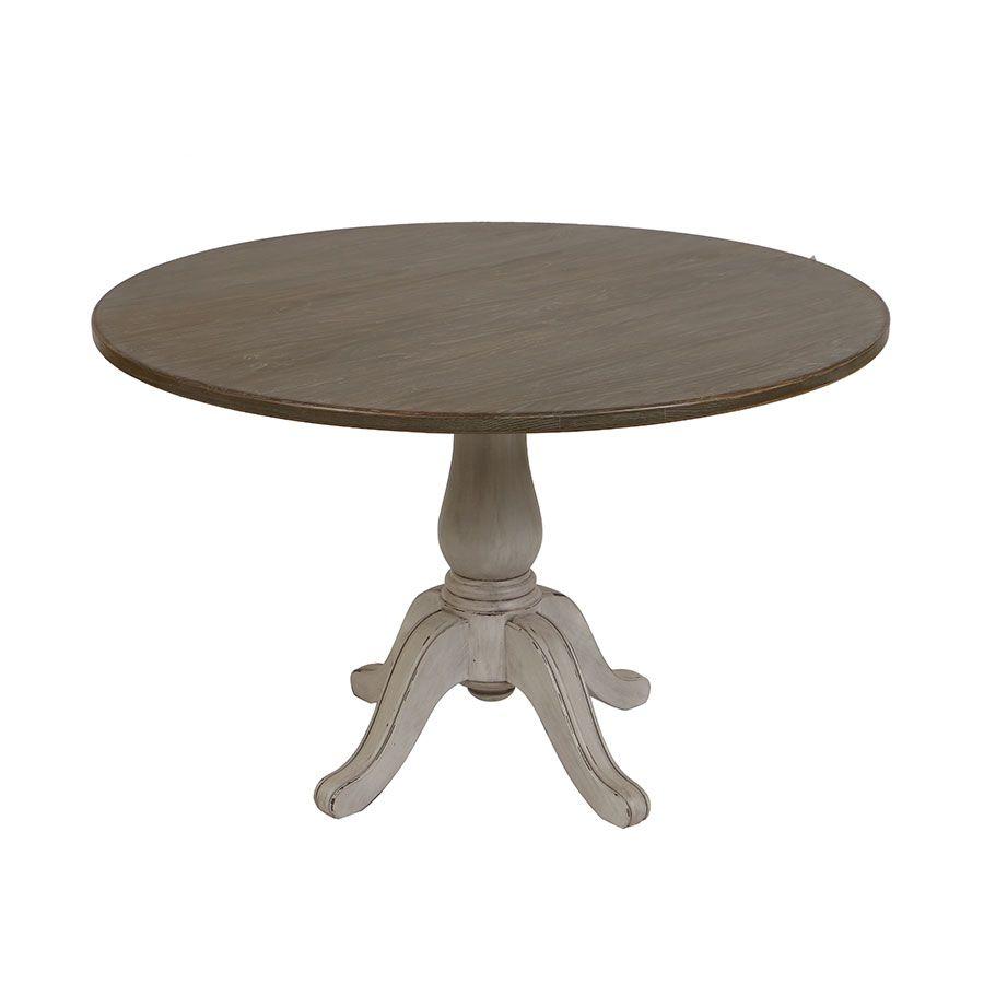 table ronde en pin massif gris argente 4 personnes chateau