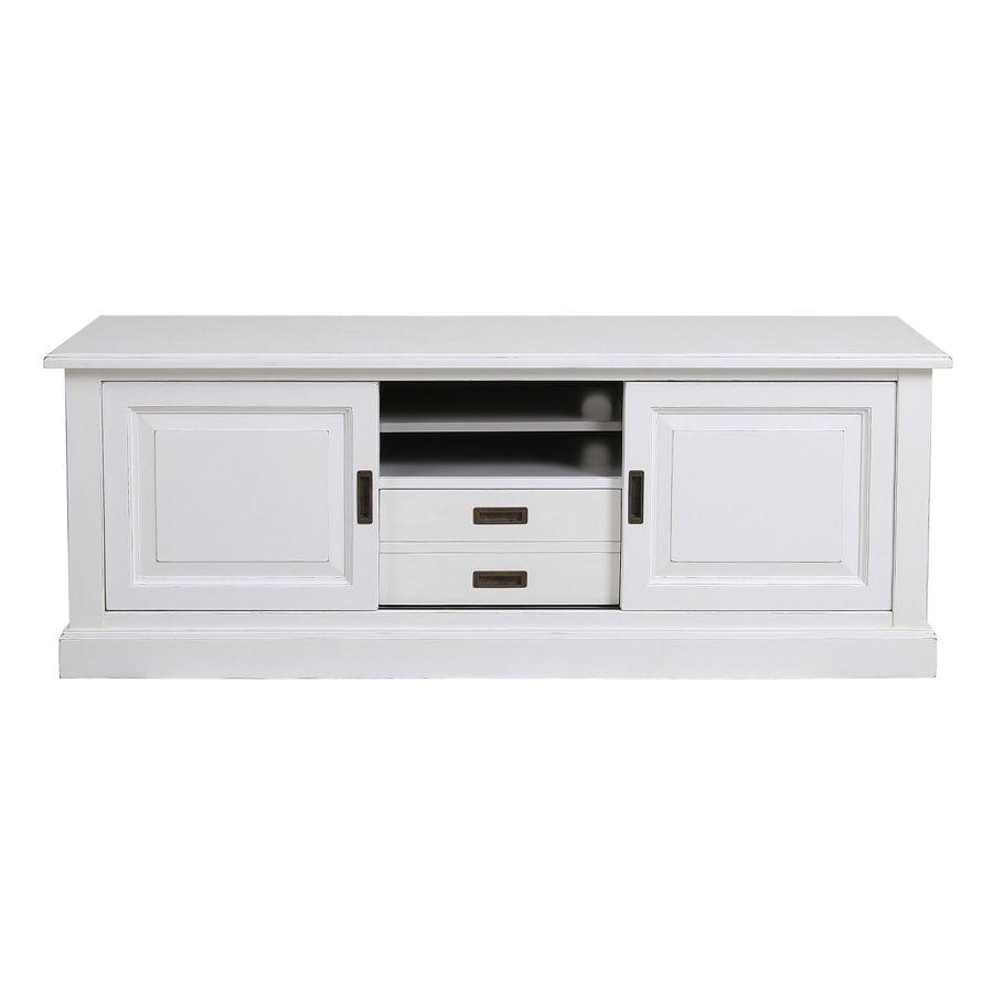 meuble tv hifi blanc satine rhode island