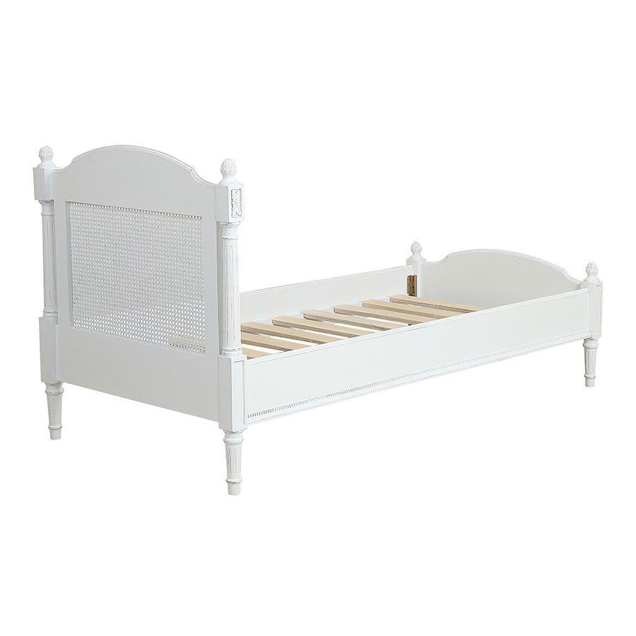 lit enfant 90x190 en bois blanc vieilli gustavien