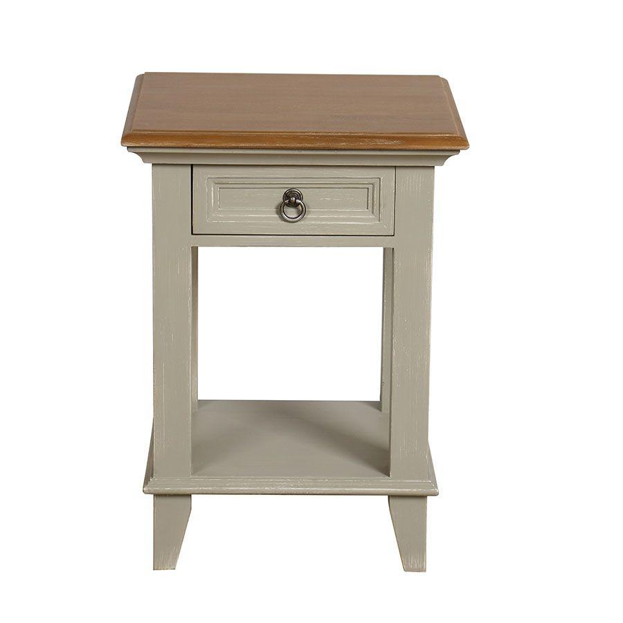 table de chevet 1 tiroir en pin gris plume vieilli esquisse