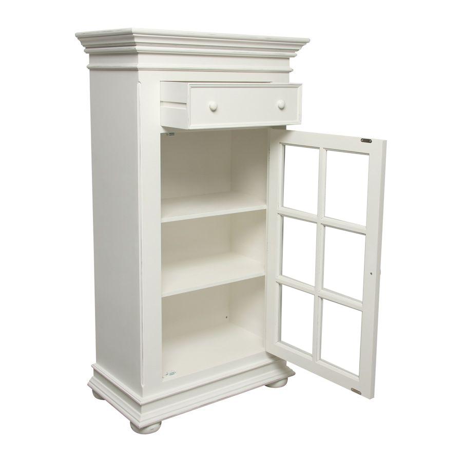 meuble de rangement vitre blanc harmonie
