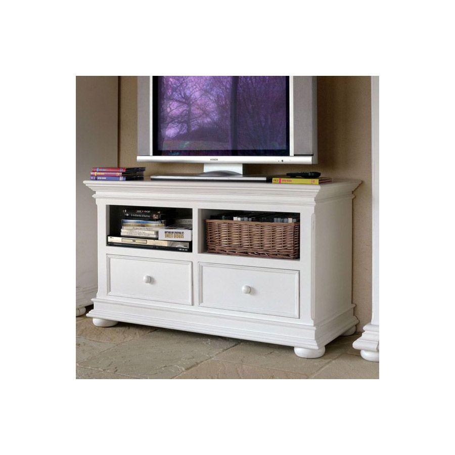 meuble tv blanc en bois avec rangements harmonie