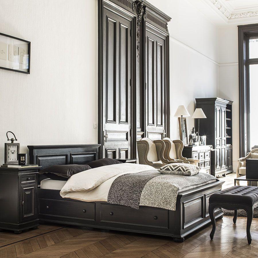 lit 140x190 avec tiroirs en bois noir harmonie