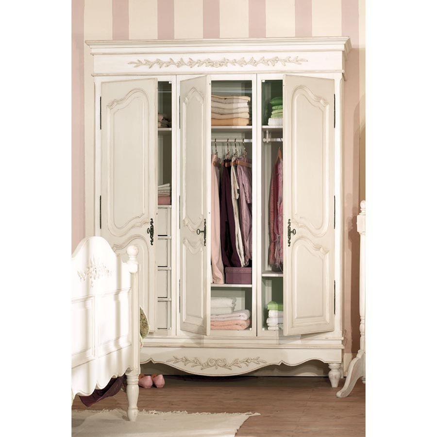 armoire penderie blanche 3 portes en bois romance