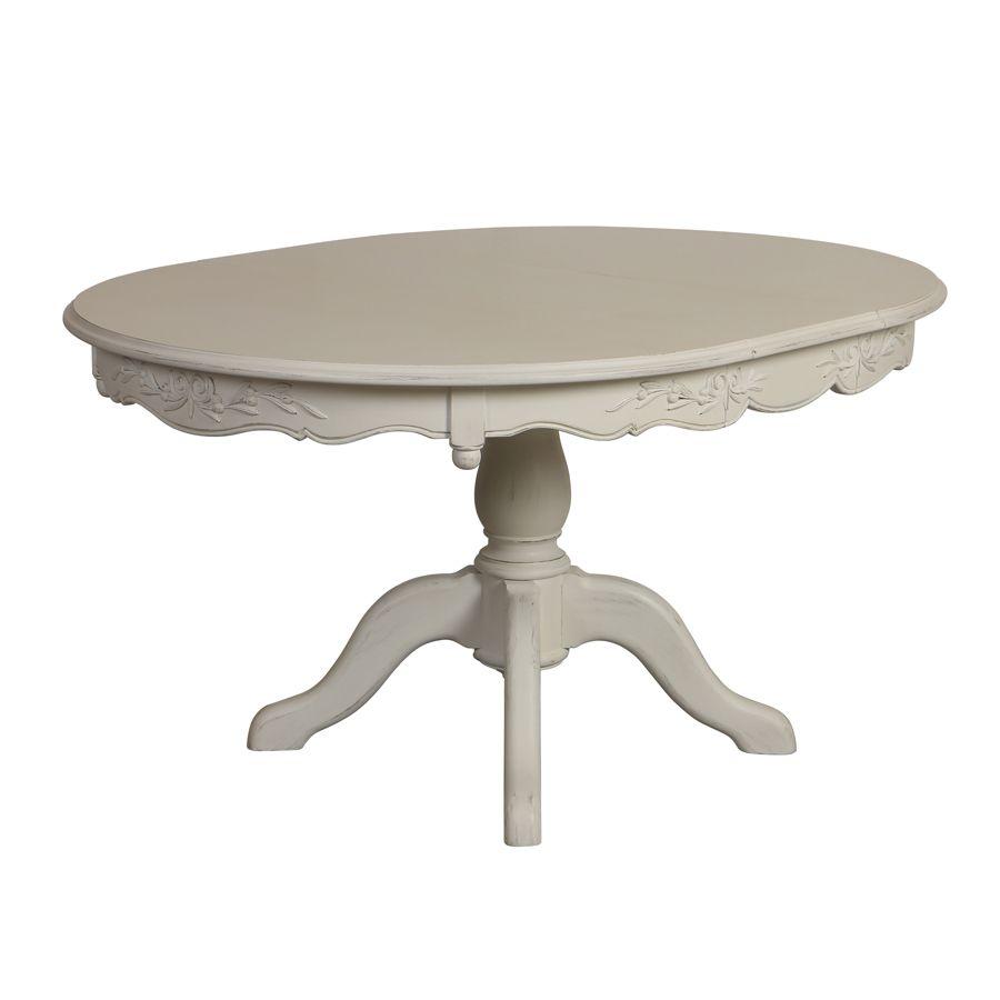 table ronde extensible blanche 6 a 8 personnes romance