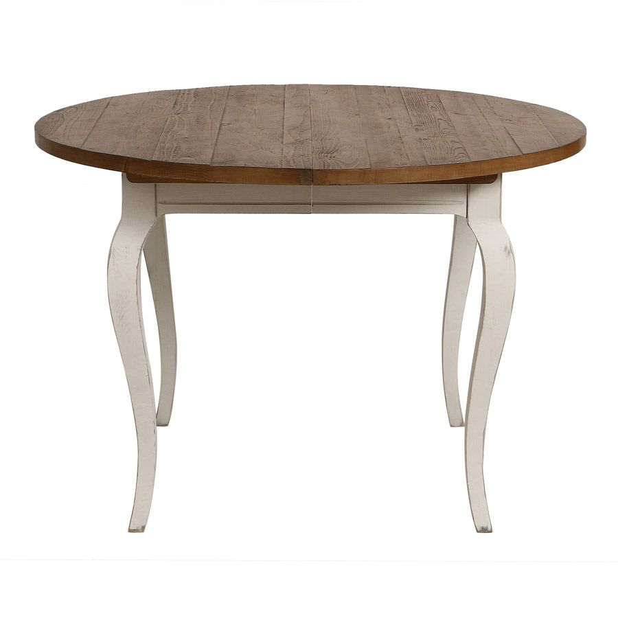table ronde extensible en epicea massif 4 a 8 personnes provence