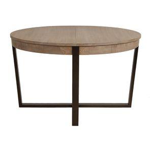 table ronde extensible en bois et metal demeure