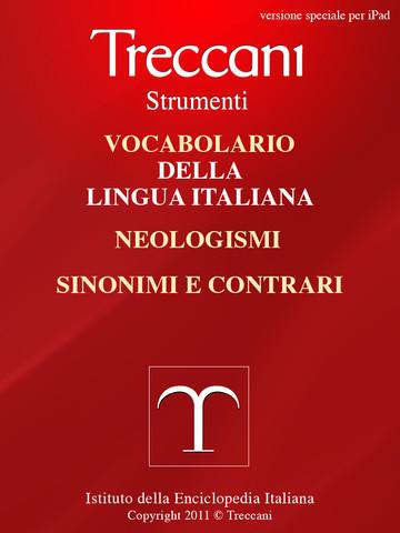 Il Treccani vocabolario italiano e sinonimi su iPad La