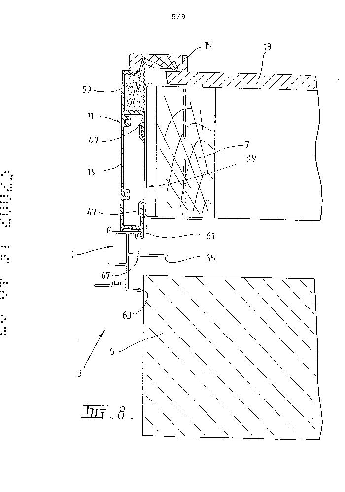 Window frame or door frame assembly having an internal