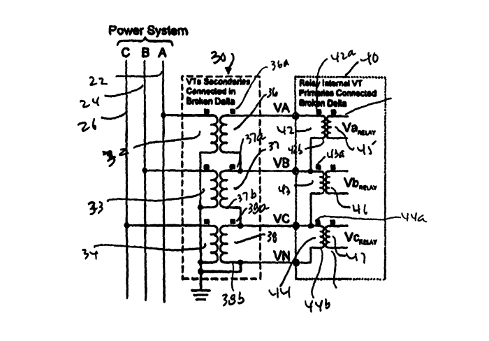 System for obtaining phase-ground voltages from a broken